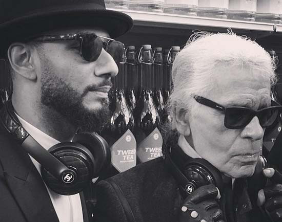 Swiss-Beatz-and-Karl-Lagerfeld-with-Chanel-x-Monster-headphones