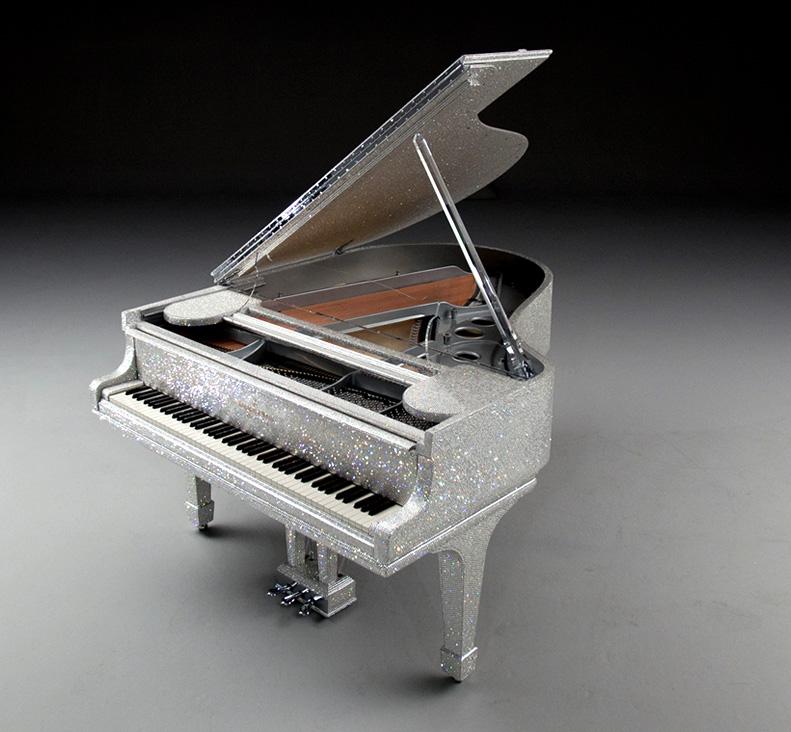 Luxury piano goldfinch crystal swarovski