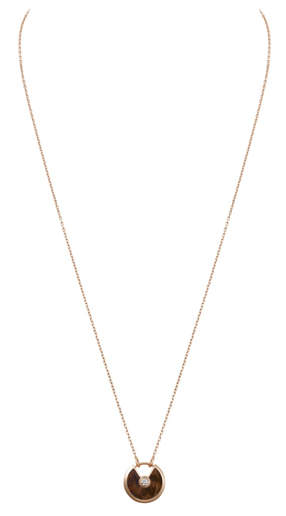 Amulette de Cartier necklace, small model, pink gold, snakewood, diamond, chain in pinkg gold
