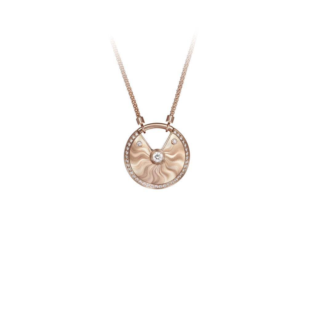 Amulette de Cartier,medium model, pink gold, diamonds, chain in pink gold