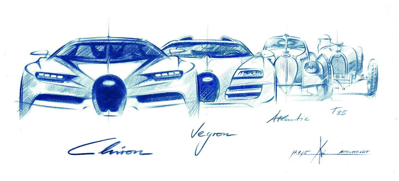 Bugatti Chiron skica