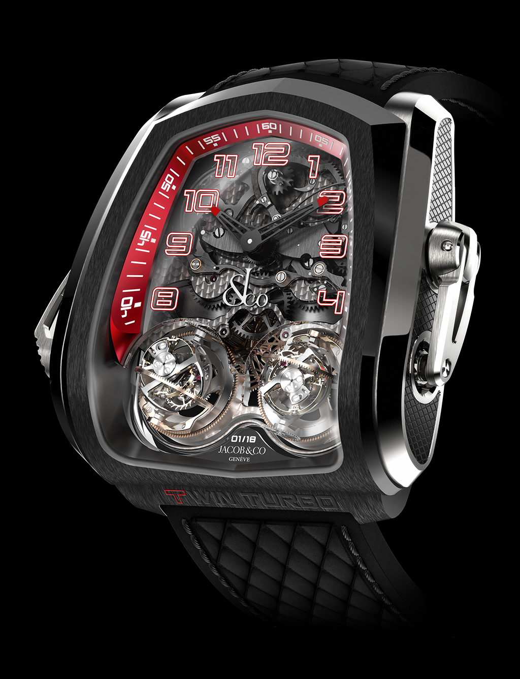 luxusní hodinky Jacob and Co - Twin Turbo Twin Triple Axis Tourbillon