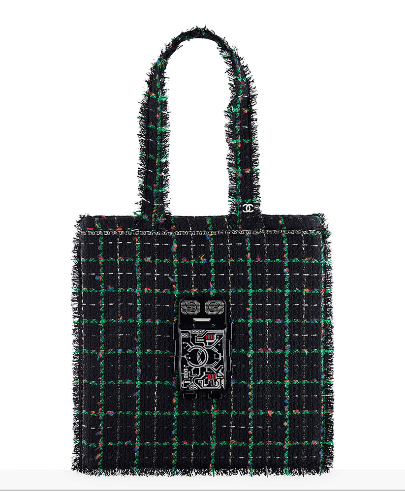 chanel-large-robot-shopping-bag-green