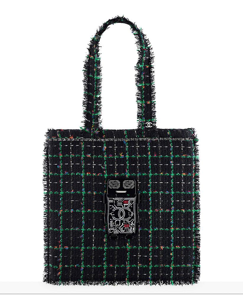 chanel-large-robot-shopping-bag-green